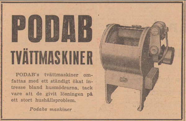 PODABs advertisement in Svenska Dagbladet 1948
