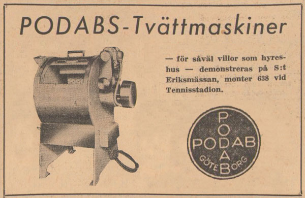 PODABs advertisement in Svenska Dagbladet 1949