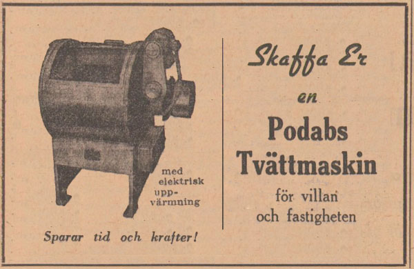 PODABs advertisement in Svenska Dagbladet 1950