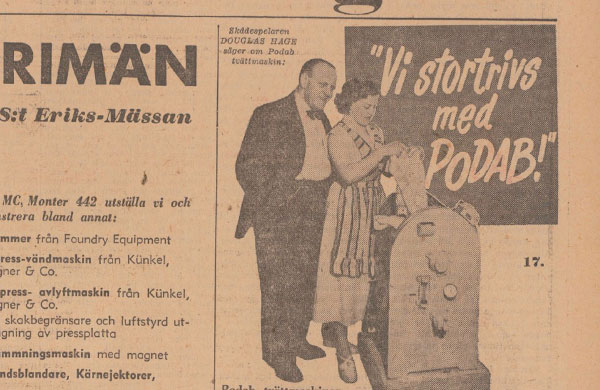PODABs advertisement in Svenska Dagbladet 1952