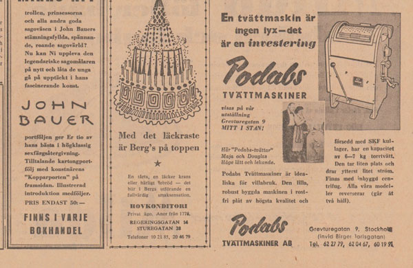 PODABs advertisement in Svenska Dagbladet 1954